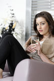 Woman enjoying a glass of wine Stock Photography