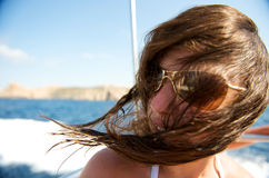 Woman enjoying her boat trip Stock Photos