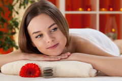 Woman enjoying her day at spa Stock Images