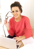 Woman Enjoying Her Job as a Freelancer Royalty Free Stock Images