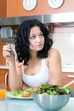 Woman enjoying her salad Royalty Free Stock Photography