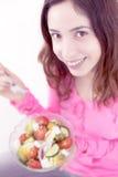 Woman enjoying her salad Stock Photos