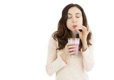 Woman enjoying her smoothie Royalty Free Stock Photo