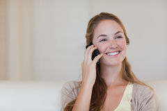 Woman enjoying her telephone conversation Royalty Free Stock Photography