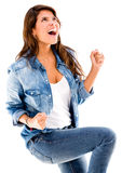 Woman enjoying her victory Stock Photography