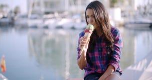 Woman Enjoying Ice Cream On Vacation stock video