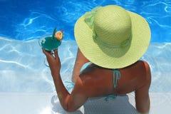 Woman enjoying the Ionian sea Stock Photos