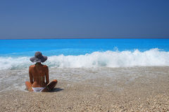 Woman enjoying the Ionian sea Stock Photography