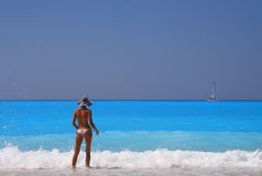 Woman enjoying the Ionian sea stock image