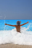 Woman enjoying the Ionian sea Stock Photo