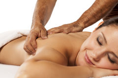 Woman Enjoying Massage Stock Photos