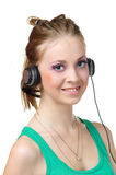 Woman enjoying music Stock Photography