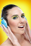Woman enjoying in music Royalty Free Stock Photos