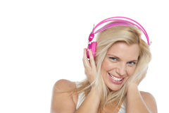 Woman enjoying music with headphones on Stock Image