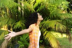 Woman enjoying nature royalty free stock photo