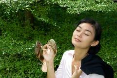 Woman enjoying nature stock photography