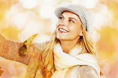Woman enjoying nature in autumn fashion Royalty Free Stock Photo