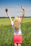 Woman enjoying in the nature and fresh air. Royalty Free Stock Photography