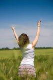 Woman enjoying in the nature and fresh air. Royalty Free Stock Photo