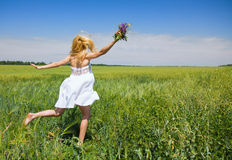 Woman enjoying in the nature and fresh air. Royalty Free Stock Image