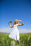 Woman enjoying in the nature and fresh air. Stock Photography