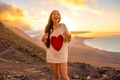 Woman enjoying nature on Fuerteventura island Stock Images