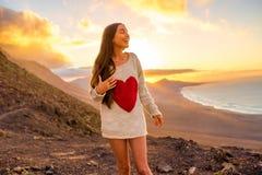 Woman enjoying nature on Fuerteventura island Royalty Free Stock Photos