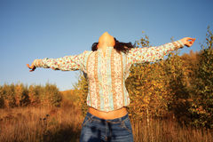 Woman enjoying nature. Stock Photos