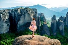 Woman enjoying nature on the mountains Royalty Free Stock Photos