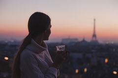 Woman enjoying night panoramic view of Paris stock photo