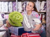 Woman enjoying purchases stock photos