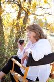 Woman enjoying red wine Stock Photography