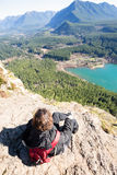 Woman enjoying rewarding view of  Rattlesnake Ledge Trail Stock Photo