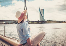 Woman enjoying ride on a yacht Royalty Free Stock Images