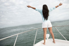 Woman enjoying sailing Stock Photography