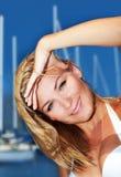 Woman enjoying sailing trip Stock Images
