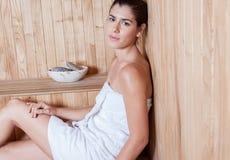 Woman enjoying the sauna Royalty Free Stock Photo