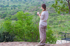 Woman enjoying savanna views Royalty Free Stock Photos