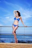 Woman enjoying the sea breeze Stock Photo