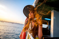 Woman enjoying the sea from ferry boat Royalty Free Stock Photography