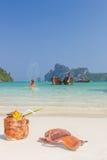 WOman enjoying the sea in Phi Phi island Royalty Free Stock Photos