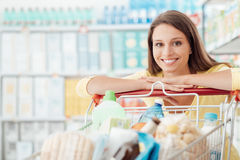 Woman enjoying shopping Royalty Free Stock Photo