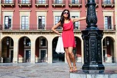 Woman enjoying shopping travel to Spain Royalty Free Stock Image