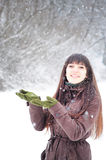 Woman enjoying snow Stock Photography