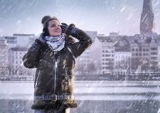 Woman enjoying with snowing at Alster Lake in Hamburg city Stock Images