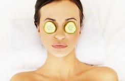 Woman enjoying spa, having cucumber on eyes Royalty Free Stock Photography