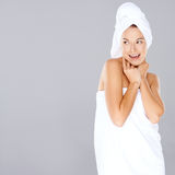 Woman enjoying a spa treatment Stock Photo