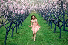 Woman enjoying spring in the green field with blooming trees Royalty Free Stock Image