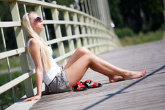 Woman enjoying summer in the city Royalty Free Stock Images