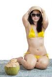 Woman enjoying summertime isolated Royalty Free Stock Images